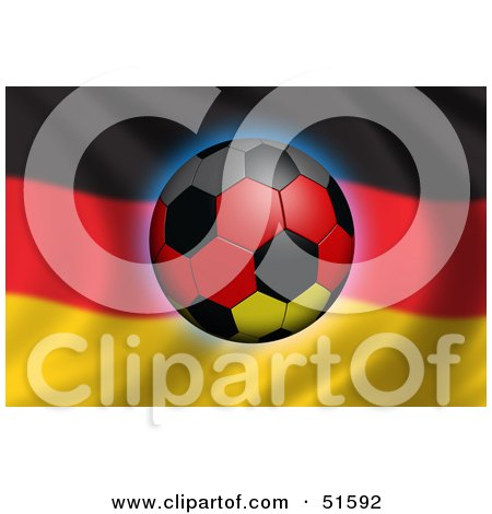 Royalty-Free (RF) Clipart Illustration of a Soccer Ball Flying In Front Of A Waving Germany Flag - Version 2 by stockillustrations