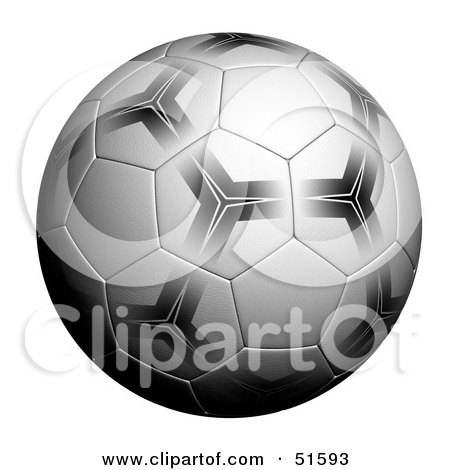 Royalty-Free (RF) Clipart Illustration of a Patterned Soccer Ball on White by stockillustrations