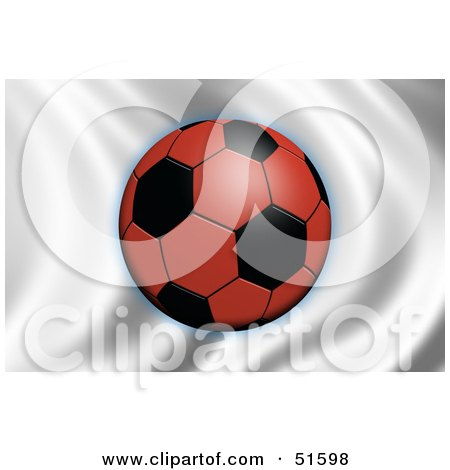 Royalty-Free (RF) Clipart Illustration of a Soccer Ball Flying In Front Of A Waving Japan Flag by stockillustrations