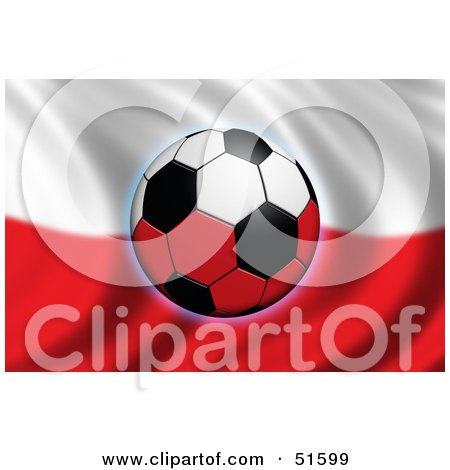 Royalty-Free (RF) Clipart Illustration of a Soccer Ball Flying In Front Of A Waving Poland Flag by stockillustrations