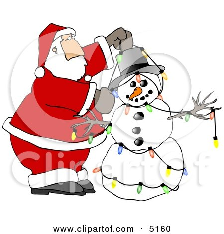Santa Decorating Snowman with Colorful Christmas Lights Clipart by djart