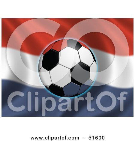 Royalty-Free (RF) Clipart Illustration of a Soccer Ball Flying In Front Of A Waving Netherlands Flag by stockillustrations