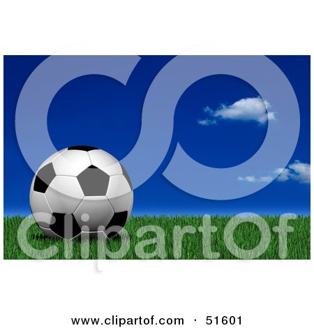Royalty-Free (RF) Clipart Illustration of a Soccer Ball Resting Still On Green Grass Under A Dark Blue Sky by stockillustrations