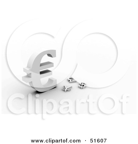 Royalty-Free (RF) Clipart Illustration of a Big Euro Symbol Towering Other Currencies by stockillustrations