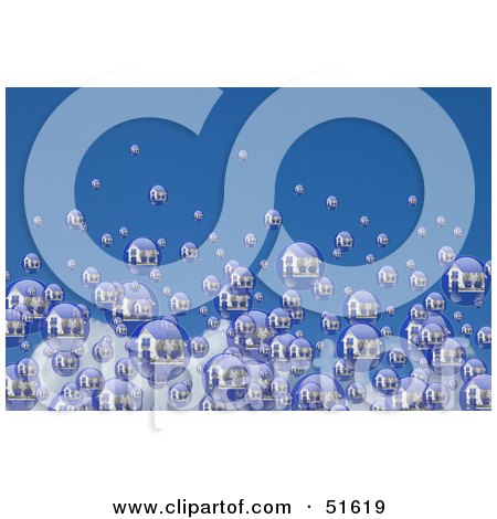Royalty-Free (RF) Clipart Illustration of Real Estate Bubbles With Homes And Money, Floating Away In The Blue Sky by stockillustrations