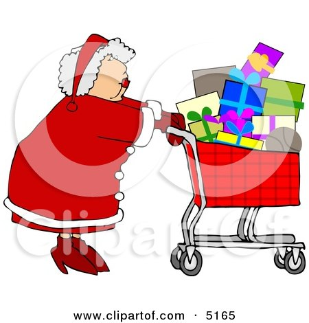 Mrs. Clause Pushing a Shopping Cart Full of Christmas Presents  Clipart by djart