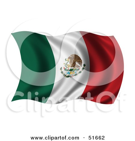 Royalty-Free (RF) Clipart Illustration of a Wavy Mexico Flag by stockillustrations