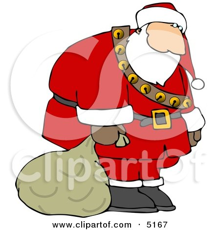 Sad, Tired, Exhausted Santa Carrying Sack of Christmas Presents Clipart by djart