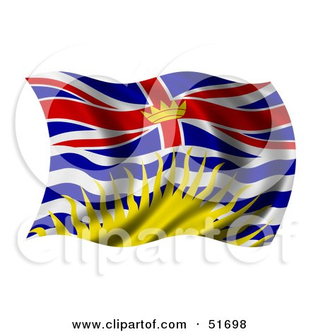 Royalty-Free (RF) Clipart Illustration of a Wavy British Columbia Flag by stockillustrations