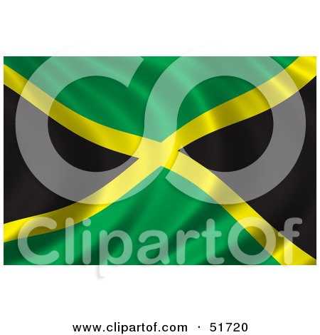 Royalty-Free (RF) Clipart Illustration of a Wavy Jamaica Flag - Version 2 by stockillustrations