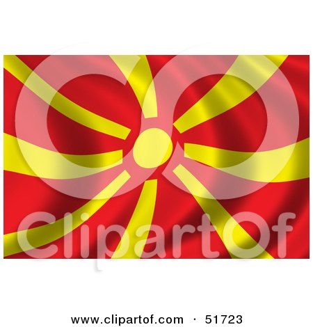 Royalty-Free (RF) Clipart Illustration of a Wavy Macedonia Flag by stockillustrations