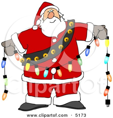 Santa Decorating with Christmas Lights Posters, Art Prints