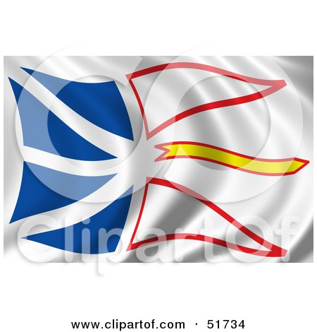 Royalty-Free (RF) Clipart Illustration of a Wavy Newfoundland Flag by stockillustrations