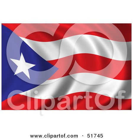 Royalty-free clipart picture of a wavy Puerto Rico flag.