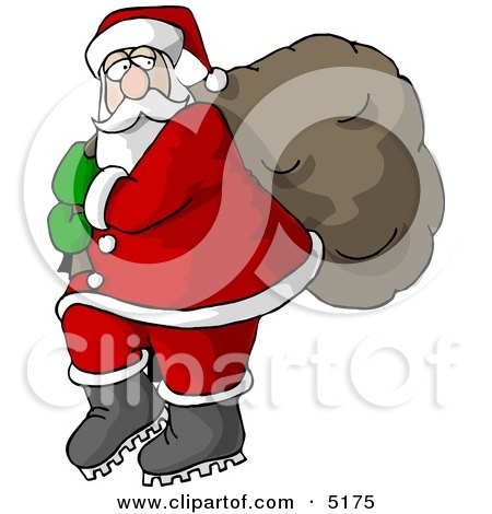 Santa Carrying Full Bag of Christmas Presents Clipart by djart