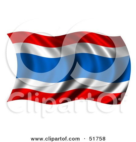 Royalty-Free (RF) Clipart Illustration of a Wavy Thailand Flag - Version 2 by stockillustrations