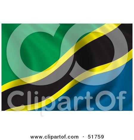 Royalty-Free (RF) Clipart Illustration of a Wavy Tanzania Flag by stockillustrations