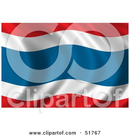 Royalty-Free (RF) Clipart Illustration of a Wavy Thailand Flag - Version 1 by stockillustrations