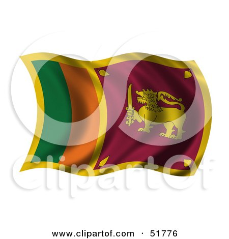 Royalty-Free (RF) Clipart Illustration of a Wavy Sri Lanka Flag by stockillustrations