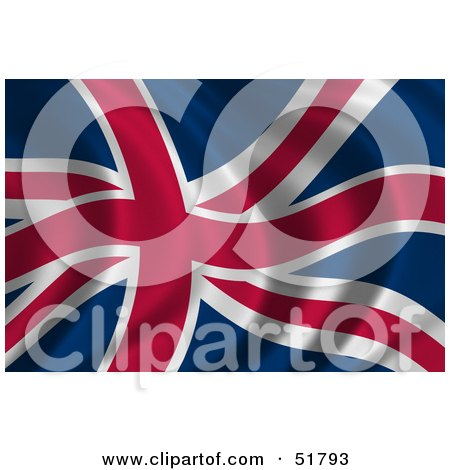 Royalty-Free (RF) Clipart Illustration of a Wavy Britian Flag - Version 2 by stockillustrations