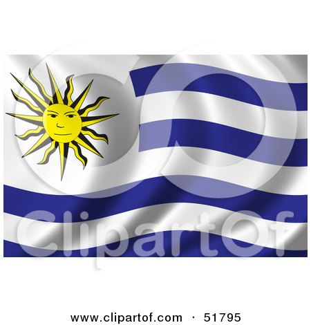 Royalty-Free (RF) Clipart Illustration of a Wavy Uruguay Flag by stockillustrations