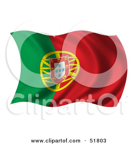 Royalty-Free (RF) Clipart Illustration of a Wavy Portugal Flag by stockillustrations