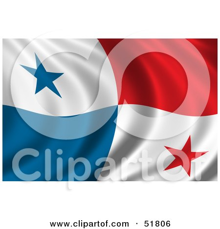 Royalty-Free (RF) Clipart Illustration of a Wavy Panama Flag by stockillustrations