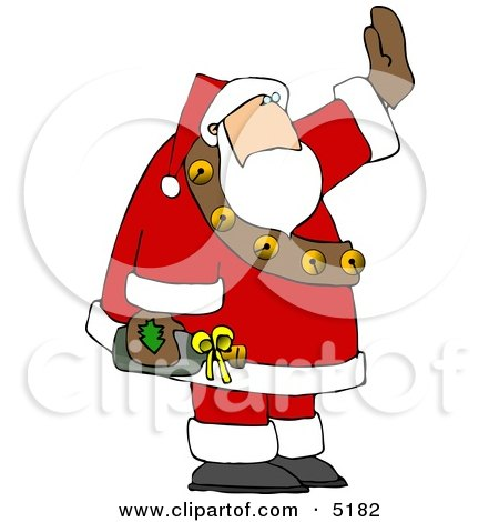 Drunk Santa Waving While Holding a Bottle of Wine Clipart by djart