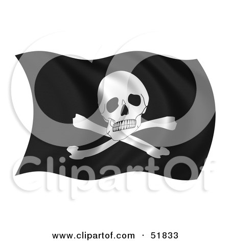 Royalty-Free (RF) Clipart Illustration of a Wavy Pirate Flag by stockillustrations