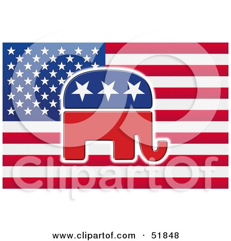 Royalty-Free (RF) Clipart Illustration of a Republican Elephant Flag - Version 1 by stockillustrations
