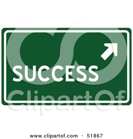 Royalty-Free (RF) Clipart Illustration of a Green Success Road Sign by stockillustrations