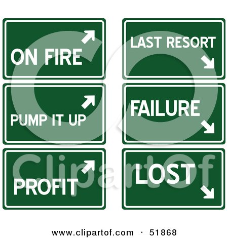 Royalty-Free (RF) Clipart Illustration of a Digital Collage Of Green Highway Signs; On Fire, Pump It Up, Profit, Last Resort, Failure And Lost by stockillustrations