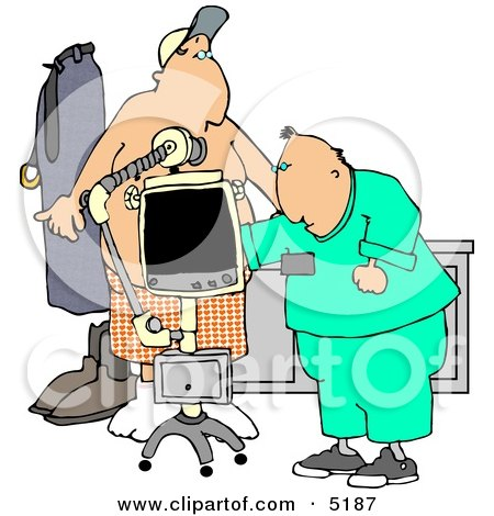 Male Doctor Taking Getting an X-ray of His Patients Stomach/Chest Area Clipart by djart