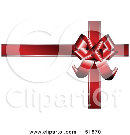 Royalty-Free (RF) Clipart Illustration of a Red Ribbon And Bow On A White Gift Box by stockillustrations