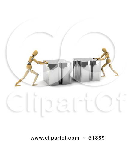 Royalty-Free (RF) Clipart Illustration of Two Orange Models Connecting Pieces Of A Puzzle Together by stockillustrations