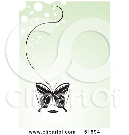 Royalty-Free (RF) Clipart Illustration of a Pretty Black Butterfly With A Long String On A Pale Green Bubble Background by stockillustrations