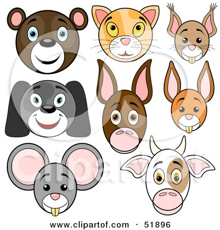 Royalty-Free (RF) Clipart Illustration of a Digital Collage Of Baby Animal Faces; Bear, Cat, Squirrel, Dog, Donkey, Rabbit, Mouse And Cow by dero