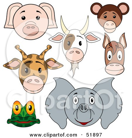 Royalty-Free (RF) Clipart Illustration of a Digital Collage Of Baby Animal Faces; Pig, Goat, Monkey, Giraffe, Horse, Frog And Elephant by dero
