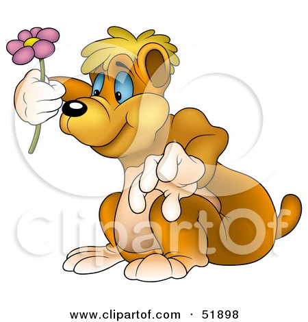 Royalty-Free (RF) Clipart Illustration of a Cute Bear Holding up a Pink Flower by dero