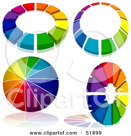 Royalty-Free (RF) Clipart Illustration of a Digital Collage of Rainbow Logo Designs - Version 1 by dero