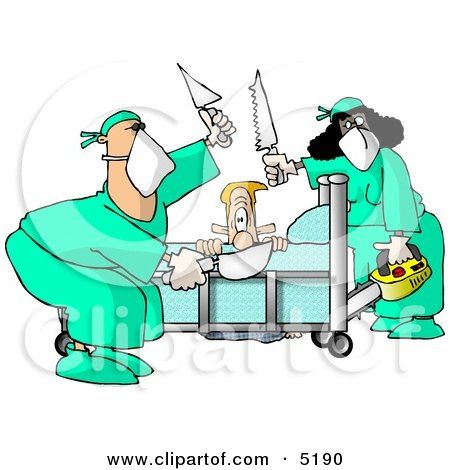 Male Patient Getting Some of His Limbs Amputated by Doctors at a Hospital Clipart by djart