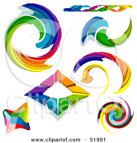 Royalty-Free (RF) Clipart Illustration of a Digital Collage of Rainbow Logo