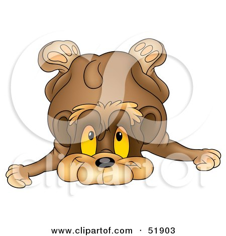 Royalty-Free (RF) Clipart Illustration of a Cute Toppling Brown Bear by dero