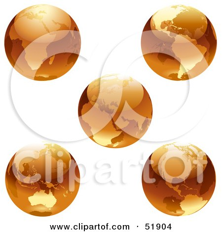 Royalty-Free (RF) Clipart Illustration of a Digital Collage of Orange Earths by dero
