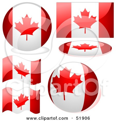 Royalty-Free (RF) Clipart Illustration of a Digital Collage of Canada Flag Icons by dero