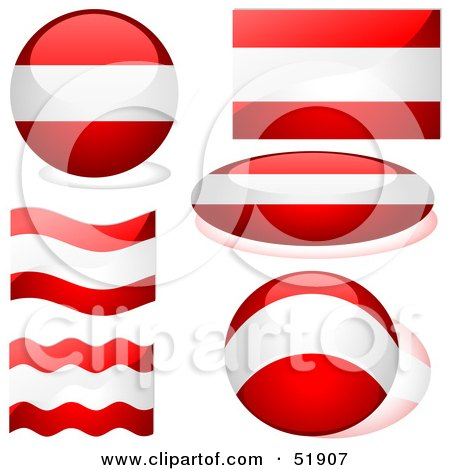Royalty-Free (RF) Clipart Illustration of a Digital Collage of Austria Flag Icons by dero