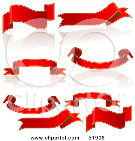 Royalty-Free (RF) Clipart Illustration of a Digital Collage Of Red Banners and Scrolls - Version 2 by dero