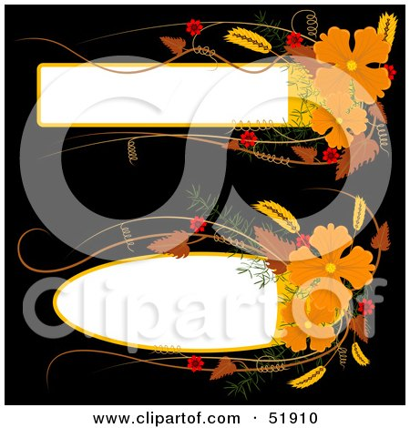 Royalty-Free (RF) Clipart Illustration of a Digital Collage of Two Orange Flower Text Boxes by dero