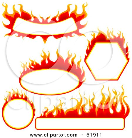 Royalty-Free (RF) Clipart Illustration of a Digital Collage of Red Fire Banners With White Space by dero