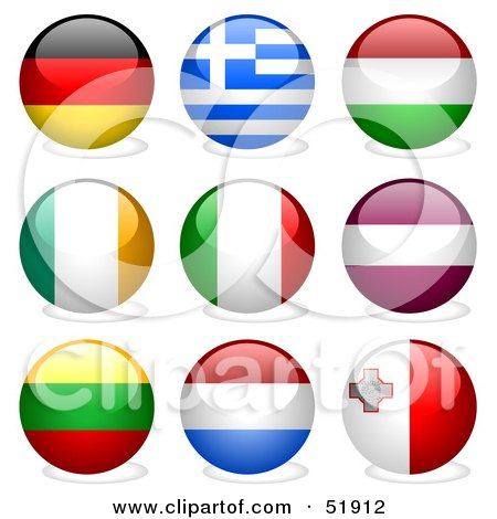 Royalty-Free (RF) Clipart Illustration of a Digital Collage of Round Flag Buttons; Germany, Greece, Hungary, Ireland, Italy, Latvia, Lithuania, Netherlands, Malta by dero
